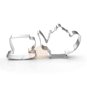 2 sztuk zestaw czajniczek filiżanka herbaty ze stali nierdzewnej Cookie Cutter Mold DIY kremówka ciasto herbatniki formy do pieczenia ciasto dekorowanie narz #8230 tanie i dobre opinie MON S FAVORITE Na stanie Ekologiczne k020 CE UE Lfgb Metal