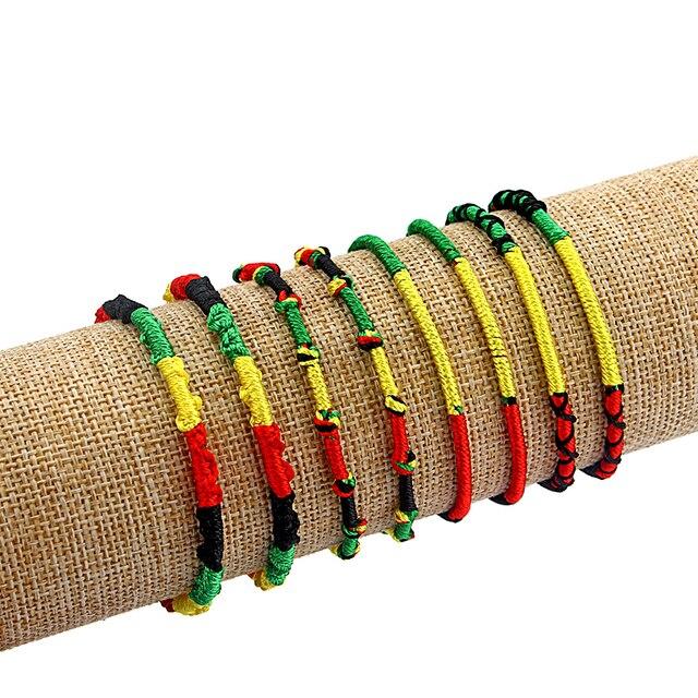 3pcs Handmade Ethnic Rasta Wristband Bracelet Weaved Braid Lucky Friendship Cotton Bangle End With Silk