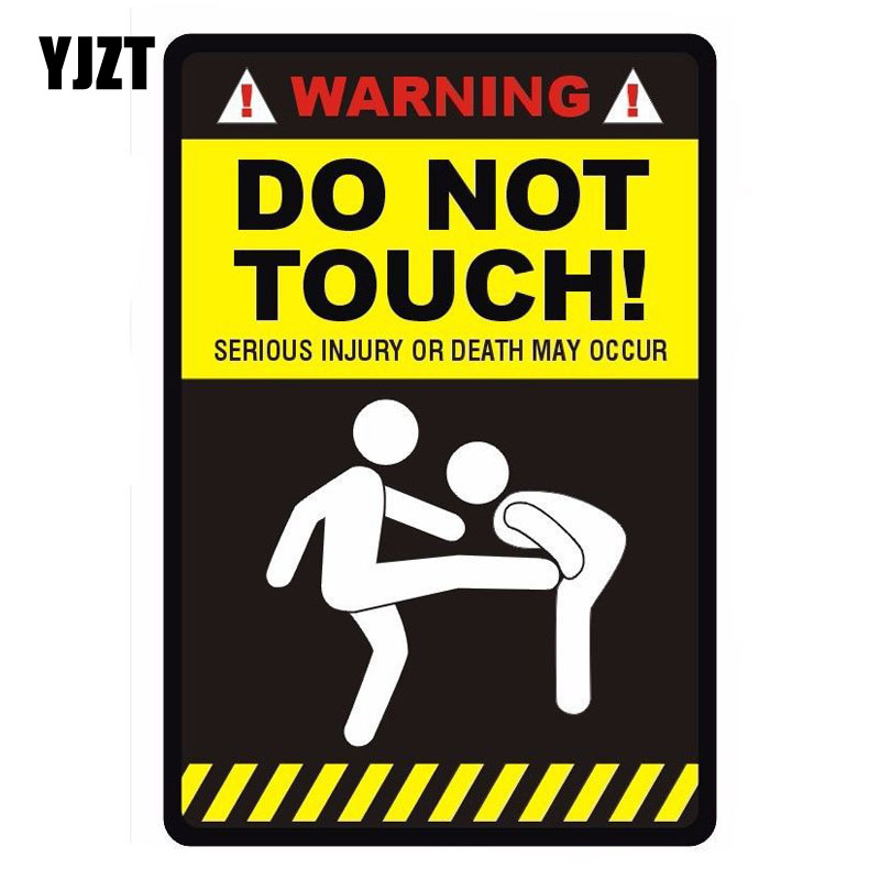 YJZT 10*14.7cm WARNING – DO NOT TOUCH' Funny Retro-reflective Car Sticker Decals C1-8198