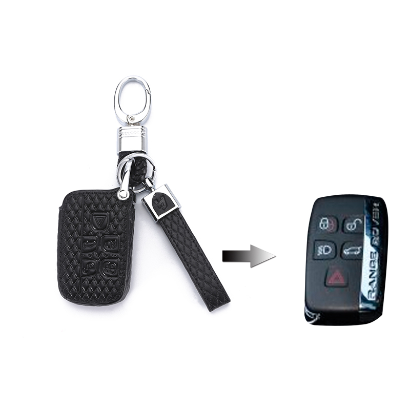 Image 2 - Leather Car Key Case Cover For Land Rover A9 Range Rover Sport 4 Evoque Freelander 2 Discovery for Jaguar XE XJL XF C X16 Guitar-in Key Case for Car from Automobiles & Motorcycles