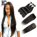 8A Straight Hair With Closure 4 Bundles Brazilian Virgin Hair Straight With Closure Cheap Human Hair Bundles With Lace Closures
