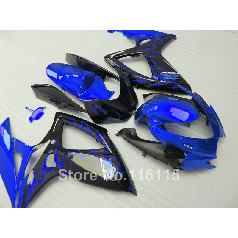 Injection mold  fairing kit for SUZUKI GSXR 600 750 K6 K7 2006 2007 GSXR600 GSXR750 06 07 blue flames black fairings set A463 new hot moto parts fairing kit for honda cbr1000rr 06 07 white blue injection mold fairings set cbr1000rr 2006 2007 ra14