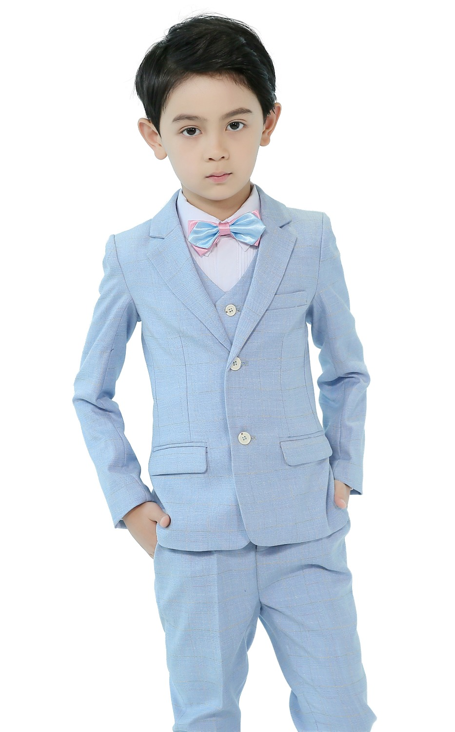 5 Piece Boys Suits Light Blue Slim Fit Ring Bearer Suit For Boys Formal Classic Costume Weddings цена 2017
