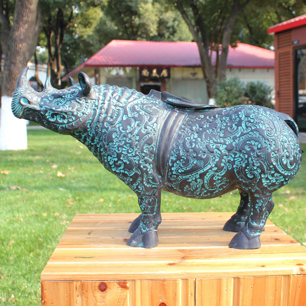 Scultura in bronzo è come un rhino ornamenti regali aziendali ufficio artigianato Arredamento Per La Casa decorazione di rame