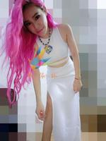 Sexy female singer ds white belly slim hip placketing full dress dj twirled service costume