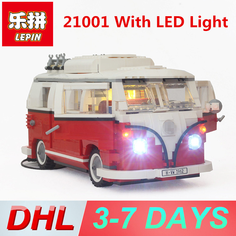 Lepin 21001 with LED Light Technic Building Blocks Volkswagen T1 Camper Van Model Compatible Legoing 10220 Bricks Toys for Kids telecool led light building blocks toy only light set for creator series the t1 camper van model lepin 21001 and brand 10220