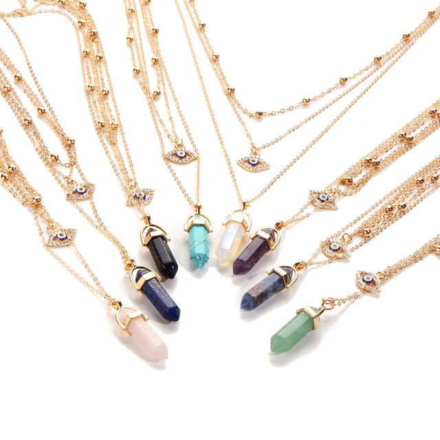 Best Multi-Layer Crystal Eye Vintage Opal Stone Chokers Necklaces Cheap necklace for daughter from mom