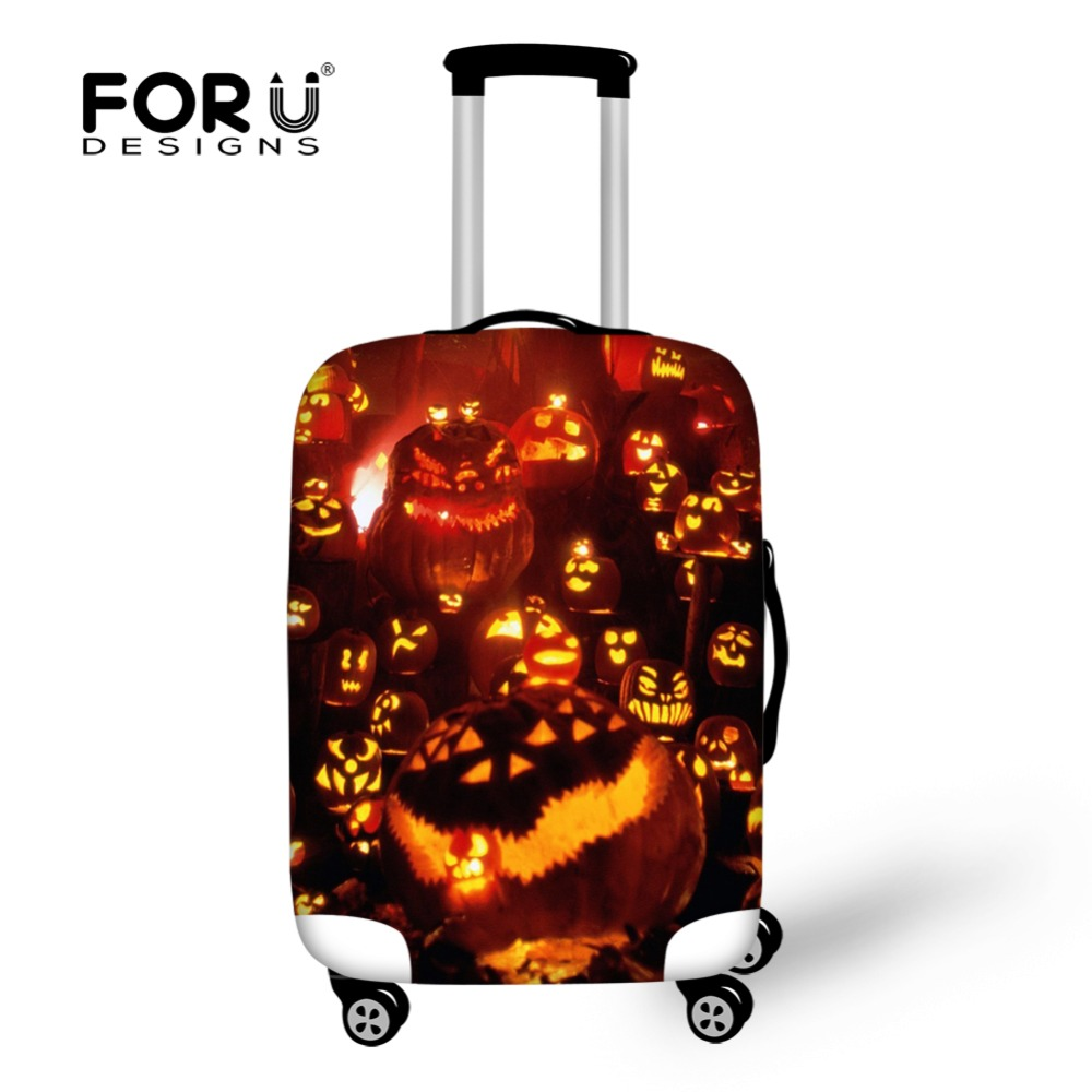 FORUDESIGNS Halloween Travel Suitcase Protective Covers Elastic Anti-dust Travel Luggage Cover Apply to18-30 Inch Storage Bag