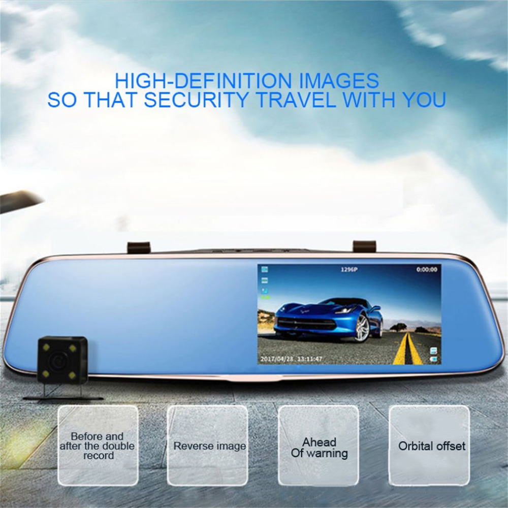 2017 Universal 5 Inch HD 1080P Rearview Mirror Car DVR Dual Camera with Wide Angle Support Night Vision without Light novatek 96655 rearview mirror camera car dvr full hd 1080p rear view mirror with dvr and camera night vision video dual recorder
