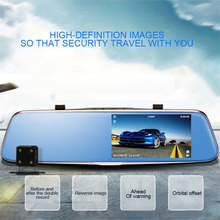 2017 Universal 5 Inch HD 1080P Rearview Mirror Car DVR Dual Camera with Wide Angle Support Night Vision without Light