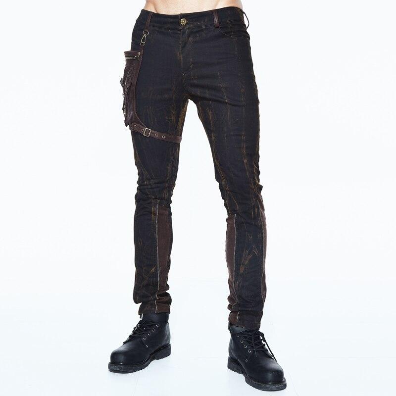 Devil Fashion Gothic Man Jacquard Dress Pants Steampunk Black Casual Straight Trousers