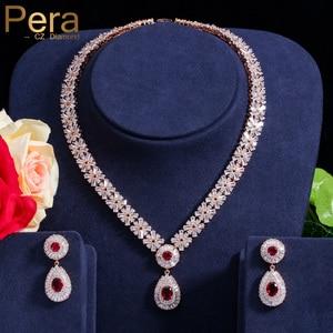 Pera CZ Классический кубический цирконий золотой цвет нигерийский Свадебный Африканский костюм большой комплект ювелирных изделий с красным ...