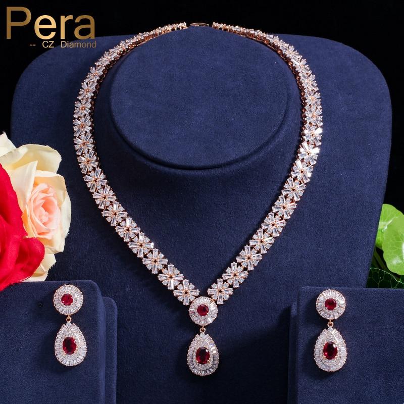 Pera CZ Classic Cubic Zirconia Guldfärg Nigerianskt bröllop Afrikansk kostym Stor uttalande Smycken Set med Röd Crystal Stone J060