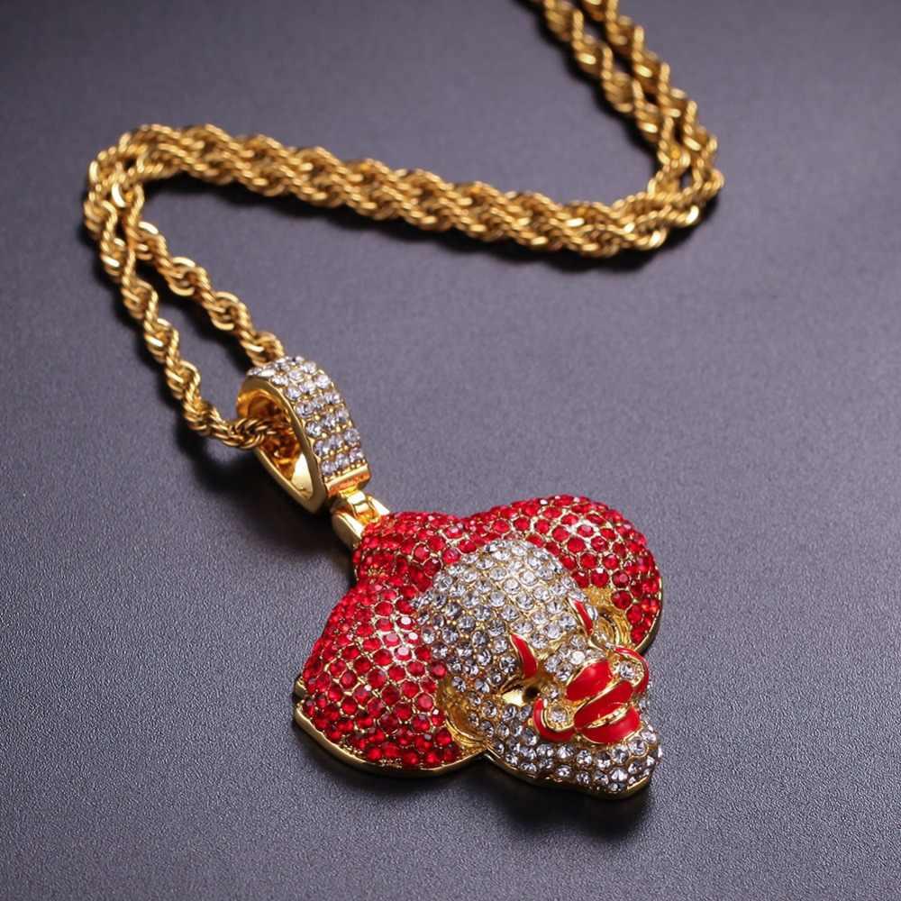 Mężczyźni Hip Hop Ice Out Bling Clown wisiorki naszyjniki moda popularny wisiorek naszyjnik Hiphop raper biżuteria prezenty