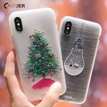 CASEIER Güzel Noel Telefon iphone için kılıf 7 8 XS Max XR 2019 Yeni Yıl Yumuşak TPU iphone için kılıf 6 6 s Artı 5 5 s SE Capin...