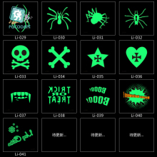 Li024-41 6x6cm Body Art Halloween Joking Skull Spider Luminous Tatoo Sticker Temporary Fast Fake Flash Tattoo Stickers Taty