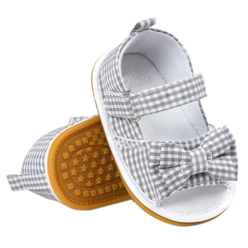 HOT SALE Newborn Baby Girls Bow Anti-slip Cotton Crib Shoes Summer shoes Grey S