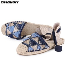 TINGHON Fashion Tassel Sequin Espadrilles shoes Comfortable Womens Casual Lace up Breathable Flax Hemp Canvas Girls Shoes