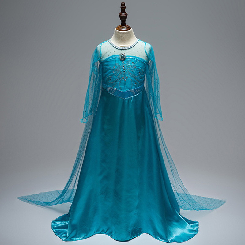 Free shipping Halloween top selling style FROZEN Elsa dress girl's long sleeve princess fairy dress with cloak JQ-1053