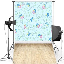 MEHOFOTO Blue Floral New Fabric Flannel Photography Background For Children Floor Vinyl Backdrop Newborn photo studio F1200