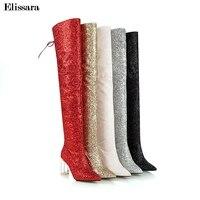 Женские пикантные ботфорты на высоком каблуке; женские свадебные зимние сапоги на молнии с блестками и красным каблуком; Размеры 33 43; elisara