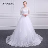 Yiwumensa Vestido de Noiva Encaje a-line Vestidos de novia Scoop Appliques vintage vestido de novia 2017 robe de mariage brautkleid
