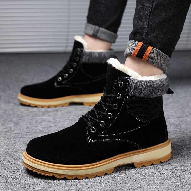 eb5e27e95e1b ... Большие размеры Осень-зима мужские Ботинки martin Ботинки без шнуровки  кожаные дышащие ботильоны мужская обувь ...
