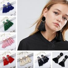 Cotton Handmade Tassel Drop Earrings for Women Bohemian Big Fringe Statement Earrings 2019 Vintage Fashion Jewelry Oorbellen(China)