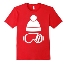 T Shirts Online MenS Broadcloth O-Neck-Sleeve Skier Goggles Bobble Hat Shirt