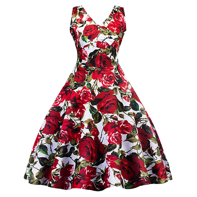 Retro dress 50s 60s vintage elegant Hepburn style robe chic red roses  printing dresses pin- 6eb08941c22b