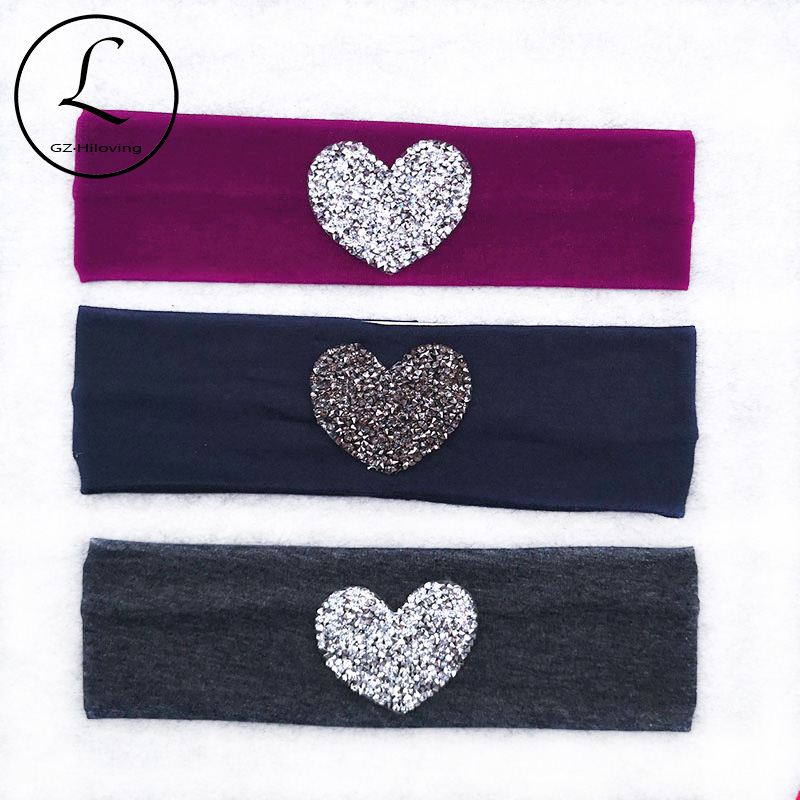 GZhilovingL Baby Girls Heart Rhinestones Cotton Headbands Summer Soft Stretch Headwear Girls Kids Childs Hairbands Accessories