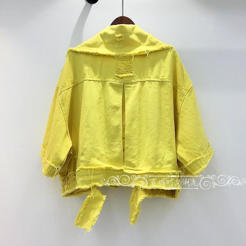 2018 Lettres Courte Jeans allumette Printemps Veste Femmes Femelle jaune De Tout Trous Rose Lâche Nouveau Ruban Manteau blanc Outwear Denim rxqrzpY1w