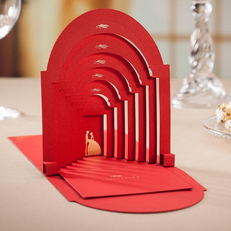 Red Elegant Romantic Couple Wedding Invitation /3d pop up cards ...