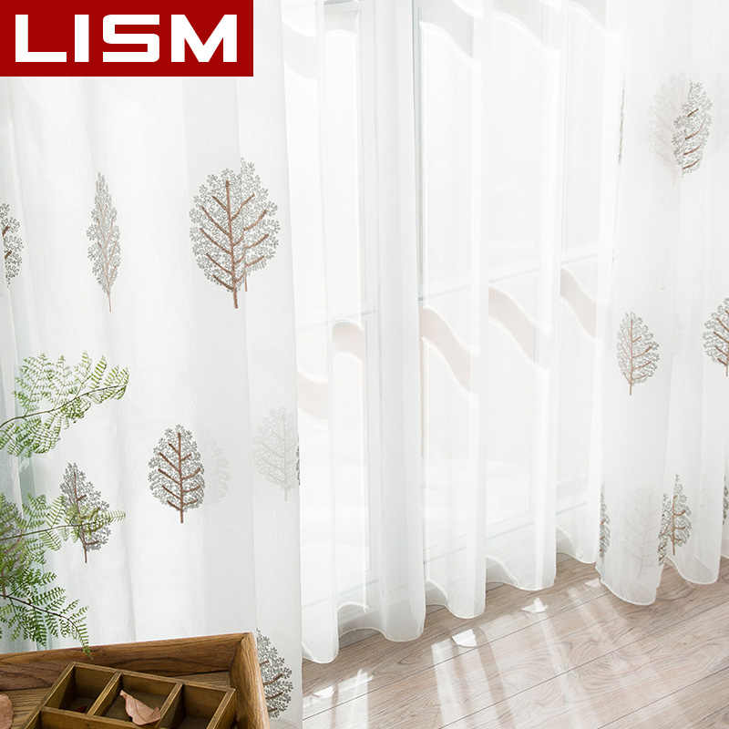 LISM Floral White Window Tulle Sheer Curtains For Living Room Bedroom The Kitchen Finished Tulle Organza Curtains Fabric Drapes
