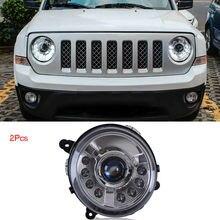 Dynamic Turn Signal LED Headlight DRLs Bi Xenon Projector Lens Fit For Jeep Patriot 2013-2015 недорого