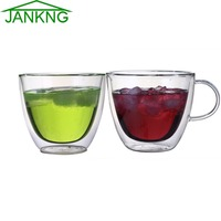JANKNG 1 Pcs Clear Handmade Double Wall Glass Cups 380 ML Heat Resistant Glass Tea Cups