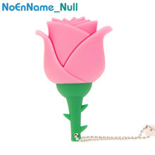 New rose red pen drive GB 32 64GB USB Flash Drive GB 8 16GB 4GB flor Romântica pendrive USB 2.0 flash memory stick melhor presente da menina(China)