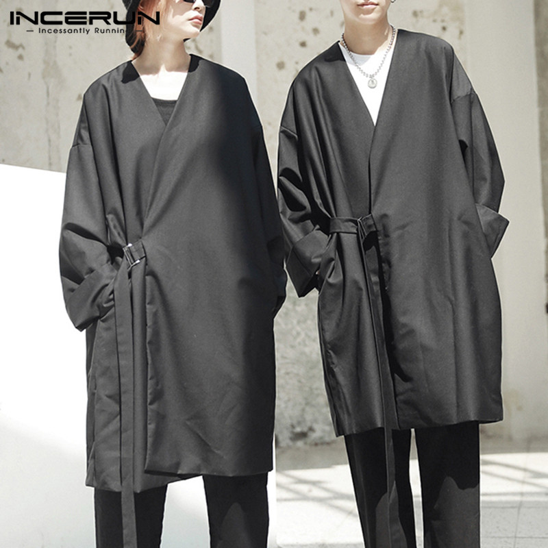 INCERUN 2019 Fashion Men   Trench   Coat Loose Long Sleeve Pockets Kimono Punk Style Solid Windbreaker Men Jacket Coat Outerwear 5XL