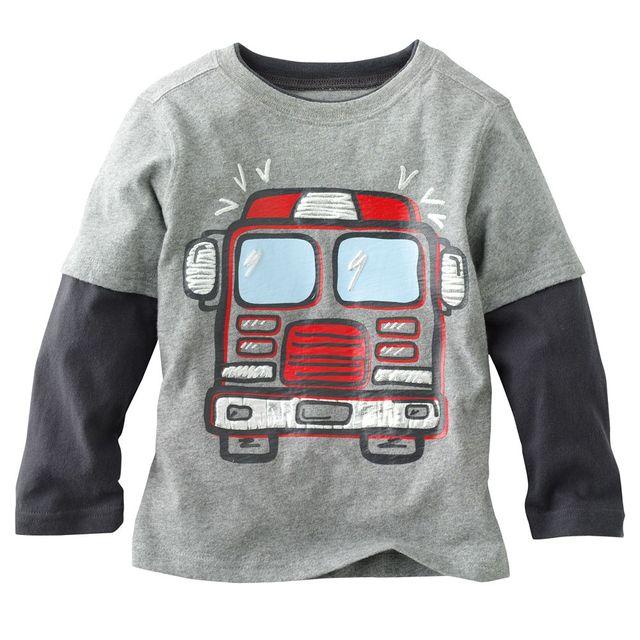 2017 весна Осень детская с длинным рукавом t-шир печати граффити автомобиль мальчики футболки дети топы тис ребенок одежда