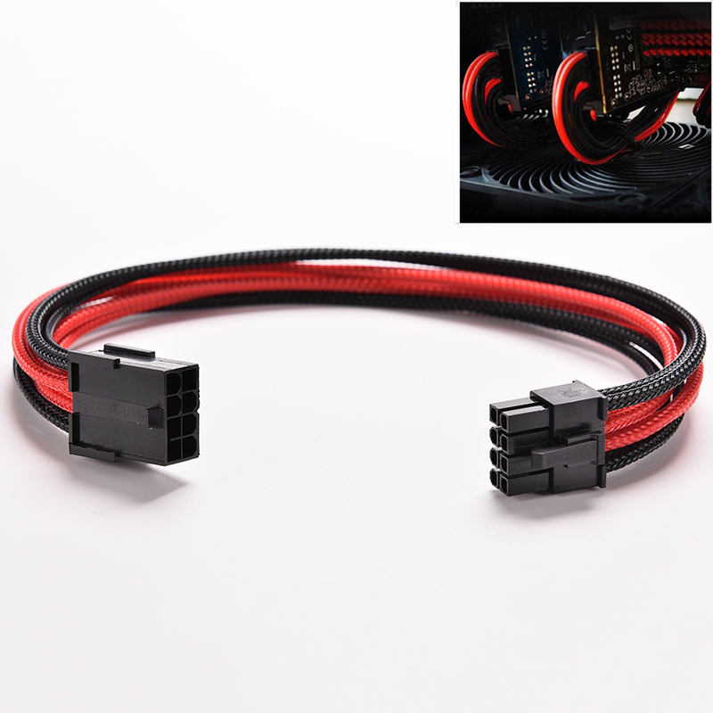 1PC New Black Red Sleeved 8 Pin To 4 Pin + 4 Pin 30cm ATX Board PSU Power Supply Extension Cable Wire росмэн 100 наклеек хищники