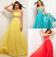 Free Shipping 2015 Newest Chiffon High Quality Chic Design Prom Dress Three Colors In Stock Size