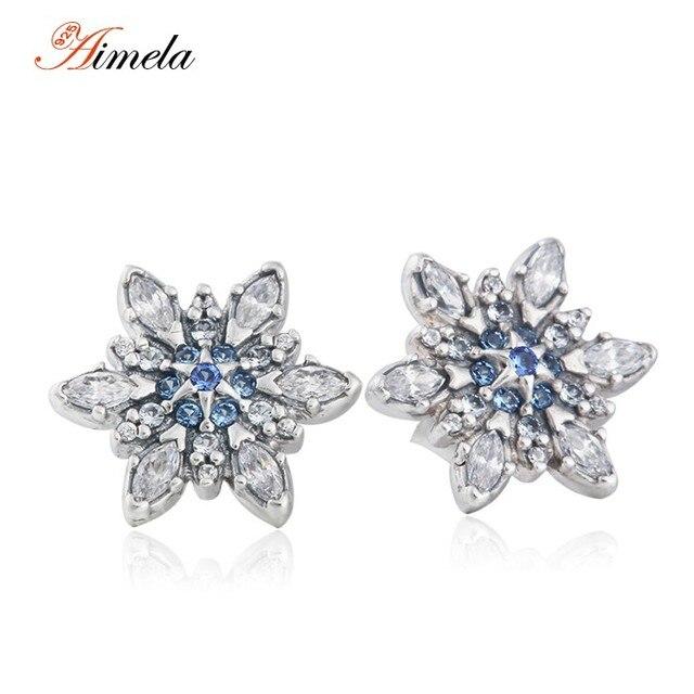 Christmas Blue Crystal & Clear CZ Snowflake Stud Earrings For Women 2016 Winter 925 Sterling Silver Brincos Fine Jewelry EAR034