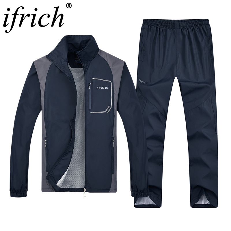 2 Pieces Tracksuit Men Set Casual Outdoors Sportsuits Hoodies Men Sportswear Autumn Jackets + Pants Mens Clothing Men Sweatsuits