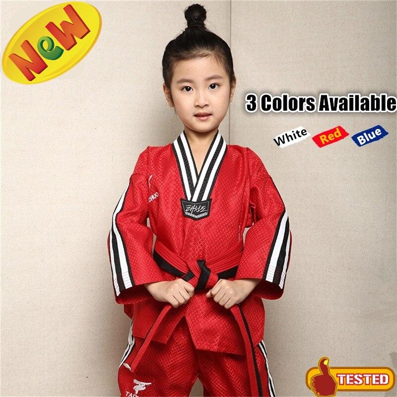 Новый хорошее качество Дети тхэквондо форма красный хлопок WTF карате добок белый ТКД костюм, Стиль синий тхэквондо одежда