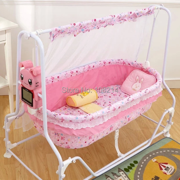 Genial 100% Cotton Baby Sleeping Bed Automatic Electric Baby Swing Cribs For  Newborn Baby With Cartoon Rabbit Host Controller Pink/Blue In Baby Cribs  From Mother ...