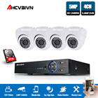 AHCVBIVN 4CH HD 5MP Home Security Cameras System With Hard Drive and 4Pcs 5.0MP 2560*1920p Indoor Outdoor Dome CCTV Cameras Kit