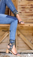 Hot Sale Roman Style Ankle Wrap Sandal Open Toe Studded Crystal Fashion Shoes High Quality Summer