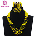 Boda nigeriano Beads Yellow Crystal Sistemas de la Joyería de Traje Negro Partido Africano WD395 Collar Fijó El Envío libre