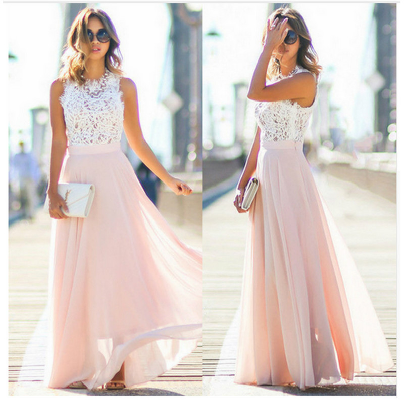 GPFDRL 2018 New Fashion Spring Summer Dress Lace Patchwork Chiffon Dress Special occasion Dresses Feamle Long Dress Vestidos