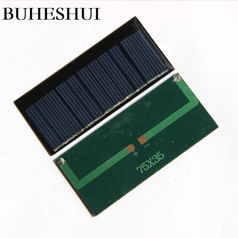 BUHESHUI 0.33W 60MA 5.5V Solar Cell Polycrystalline DIY Solar Panel Battery Charger For 3.7V Study Toy 75*35MM 1000pcs Wholesale